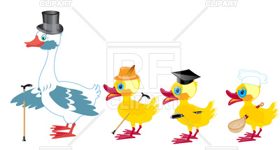 400x215 Goose With Brood Small Nestling Royalty Free Vector Clip Art Image