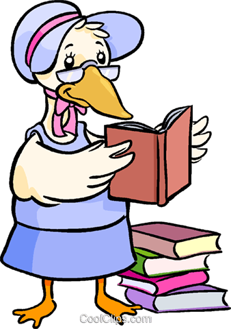 338x480 Mother Goose Reading Books Royalty Free Vector Clip Art