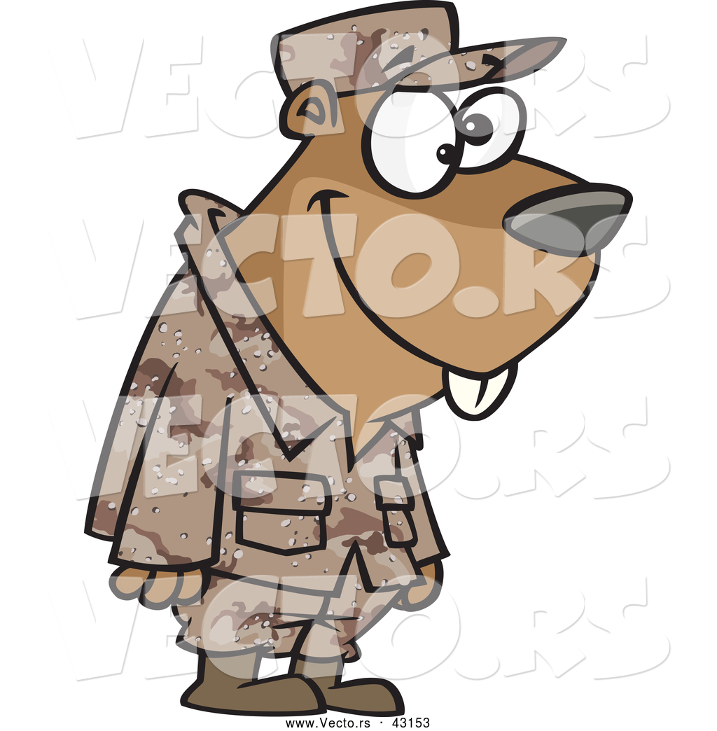 1024x1044 Vector Of A Goofy Cartoon Military Gopher Standing In Uniform By