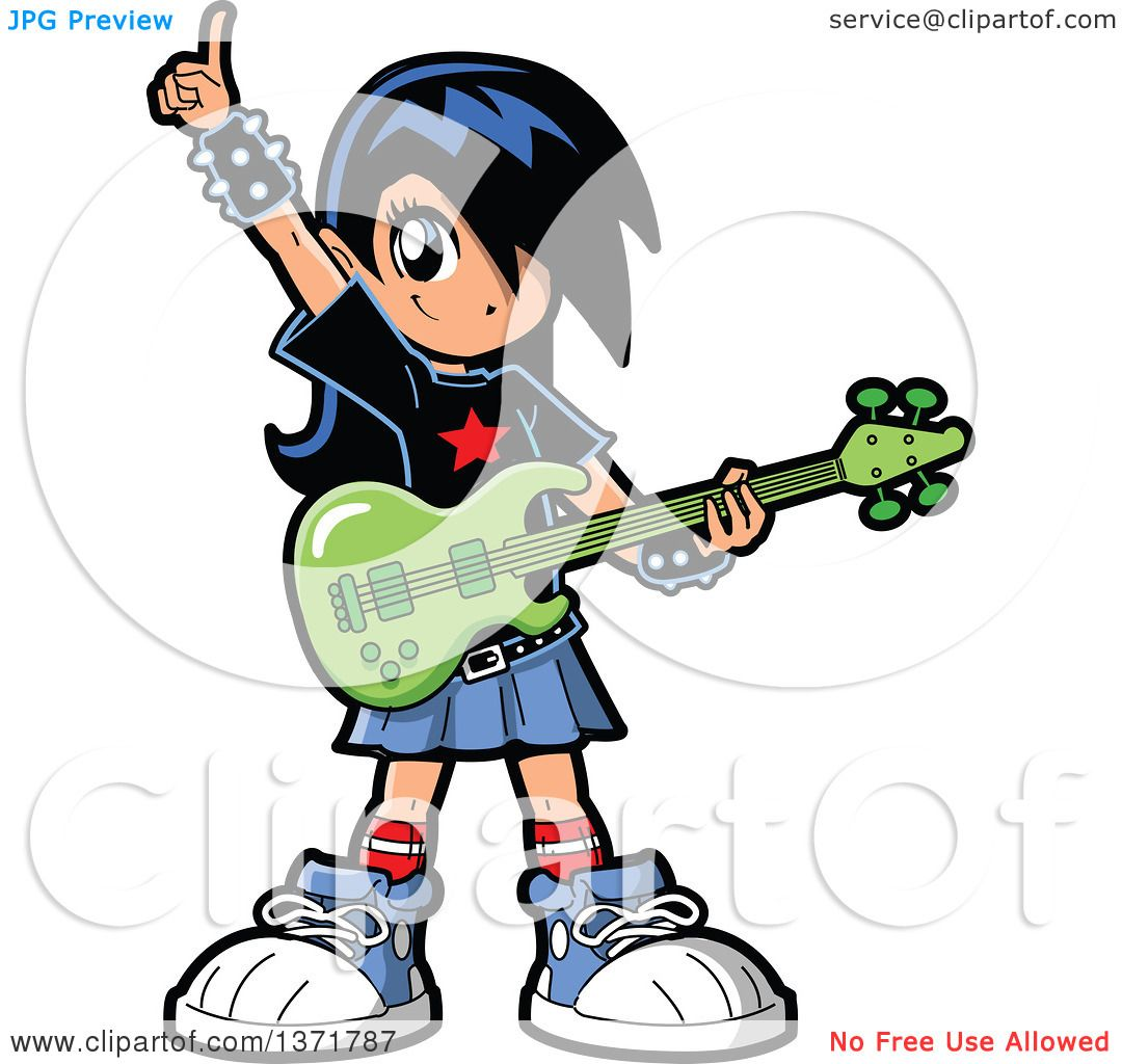 1080x1024 Clipart Of A Manga Girl Holding An Electric Guitar