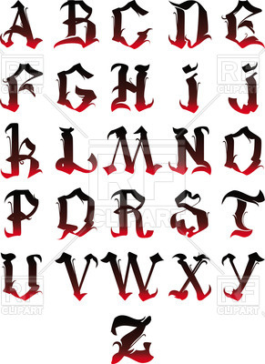 291x400 Gothic Alphabet Royalty Free Vector Clip Art Image