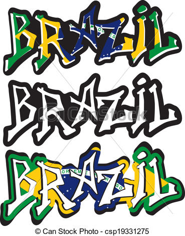 369x470 Brazil Word Graffiti Different Style. Vector Illustration. Vectors
