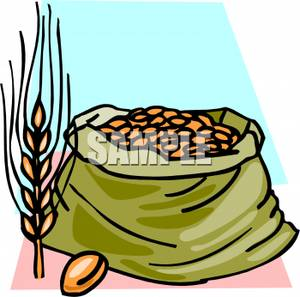 300x297 Clip Art Image Wheat And A Bag Of Grain