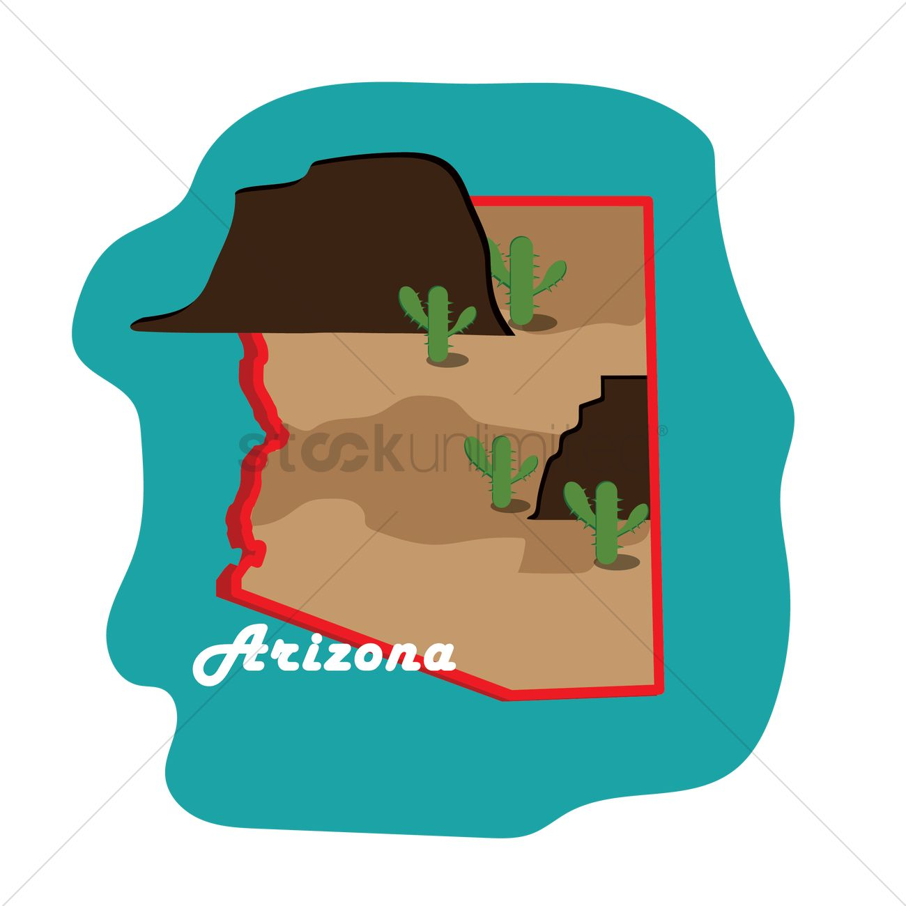 1300x1300 Arizona State Map With Grand Canyon Vector Image