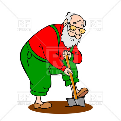 400x400 Funny Grandfather With A Long Beard Shovel Digs Up The Ground