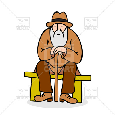 400x400 Funny Grandfather With A Long Beard Sitting On A Bench Royalty