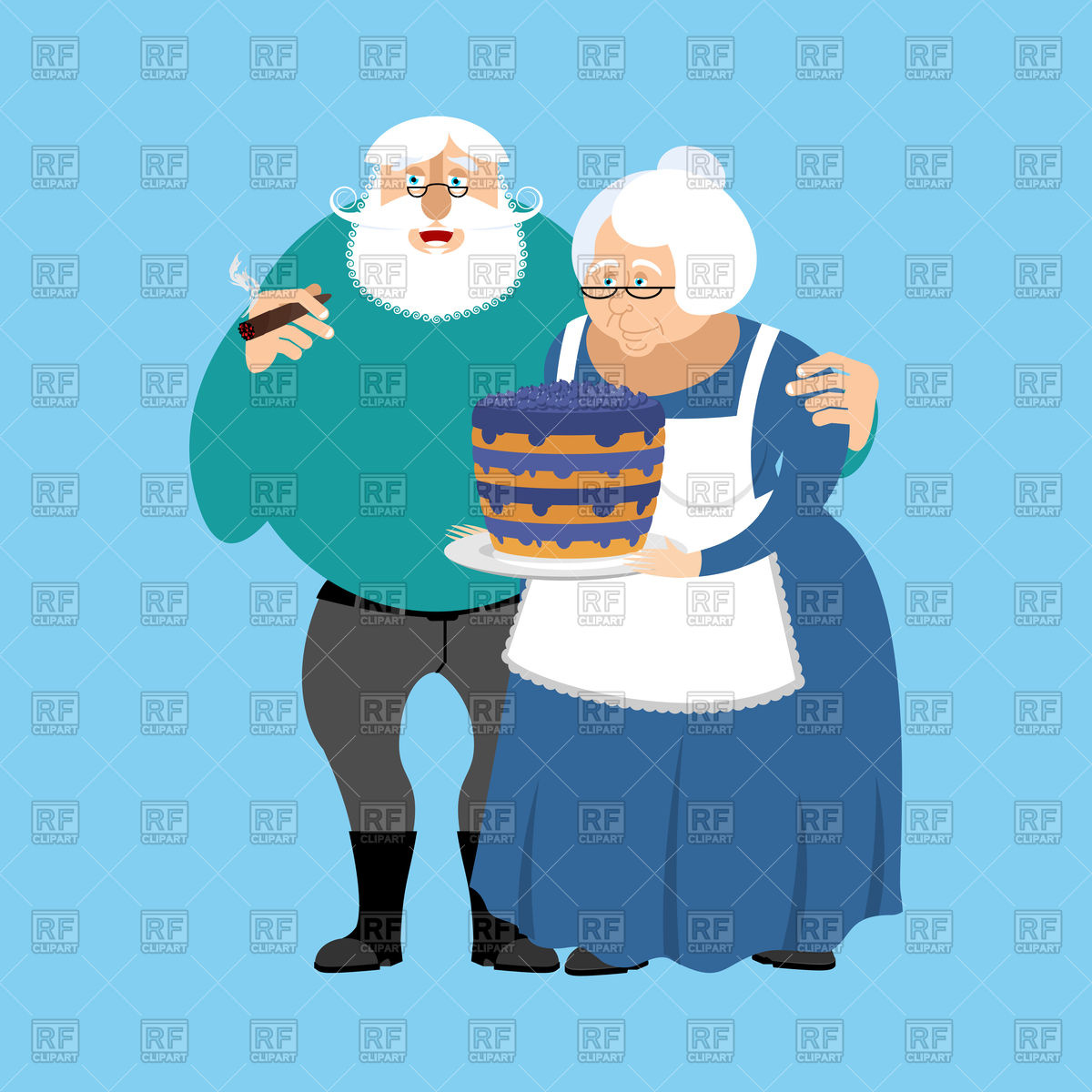 1200x1200 Grandmother With Cake And Grandfather Royalty Free Vector Clip Art