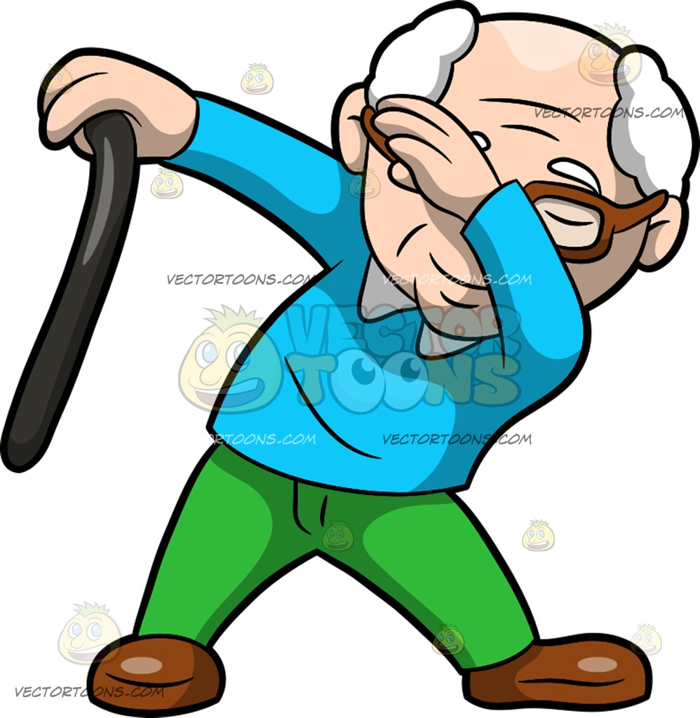 998x1024 A Dabbing Grandfather Cartoon Clipart Vector Toons