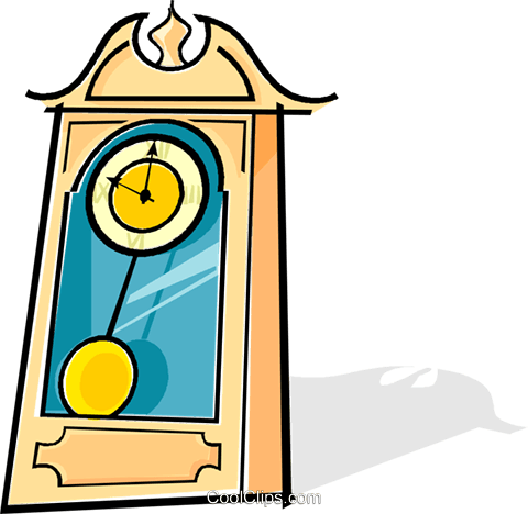 480x468 Grandfather Clock Royalty Free Vector Clip Art Illustration