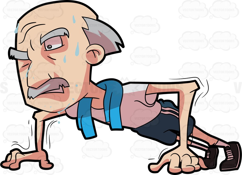 1024x743 A Grandpa Trying Hard To Do Some Push Ups Cartoon Clipart Vector