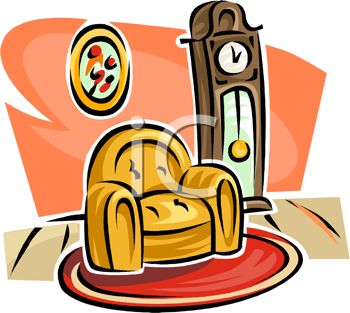 350x313 Picture Of A Home Setting With A Chair And A Grandfather Clock