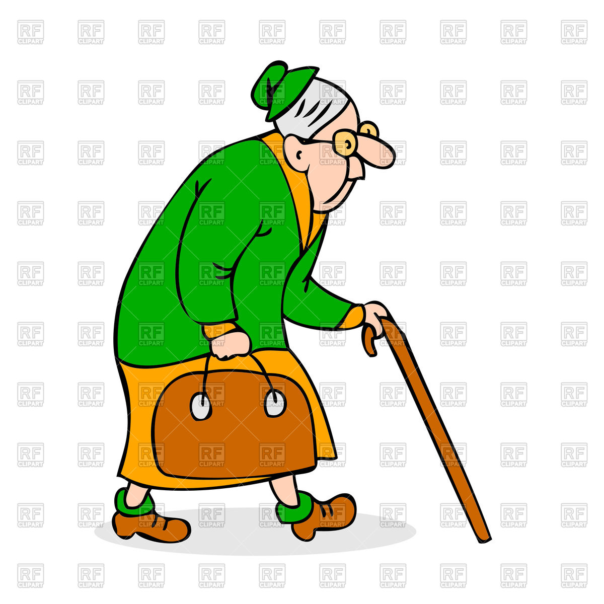 1200x1200 Colorful Cartoon Grandmother With Glasses Walking Royalty Free