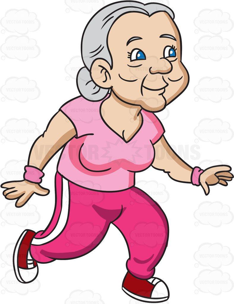 788x1024 A Grandma In Trainers Jogs Away Cartoon Clipart Vector Toons