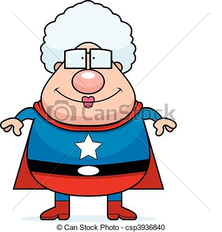 450x470 Superhero Grandma Smiling. A Happy Cartoon Superhero Grandma