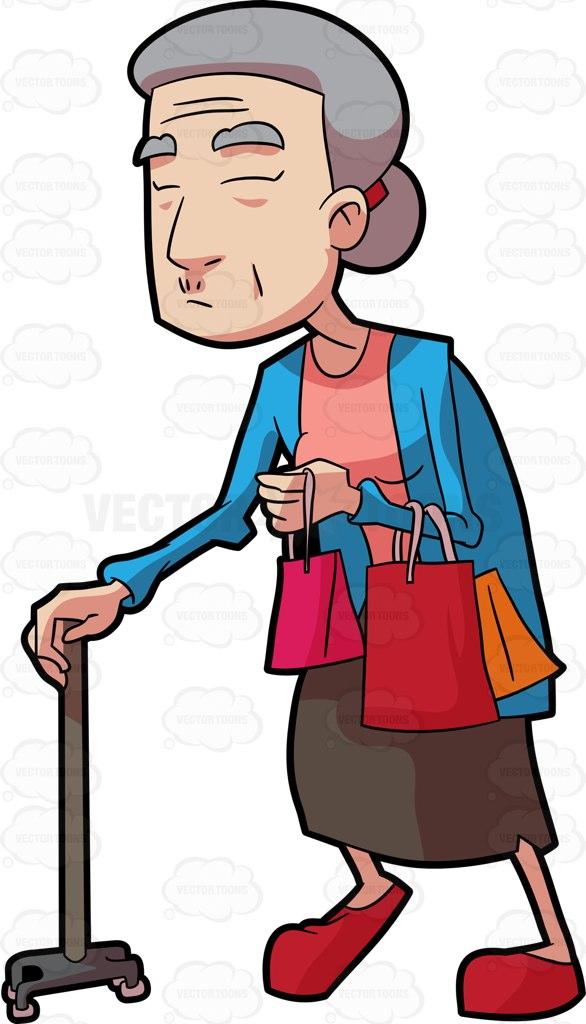 586x1024 A Grandma Walking With Her Shopping Bags Cartoon Clipart Vector