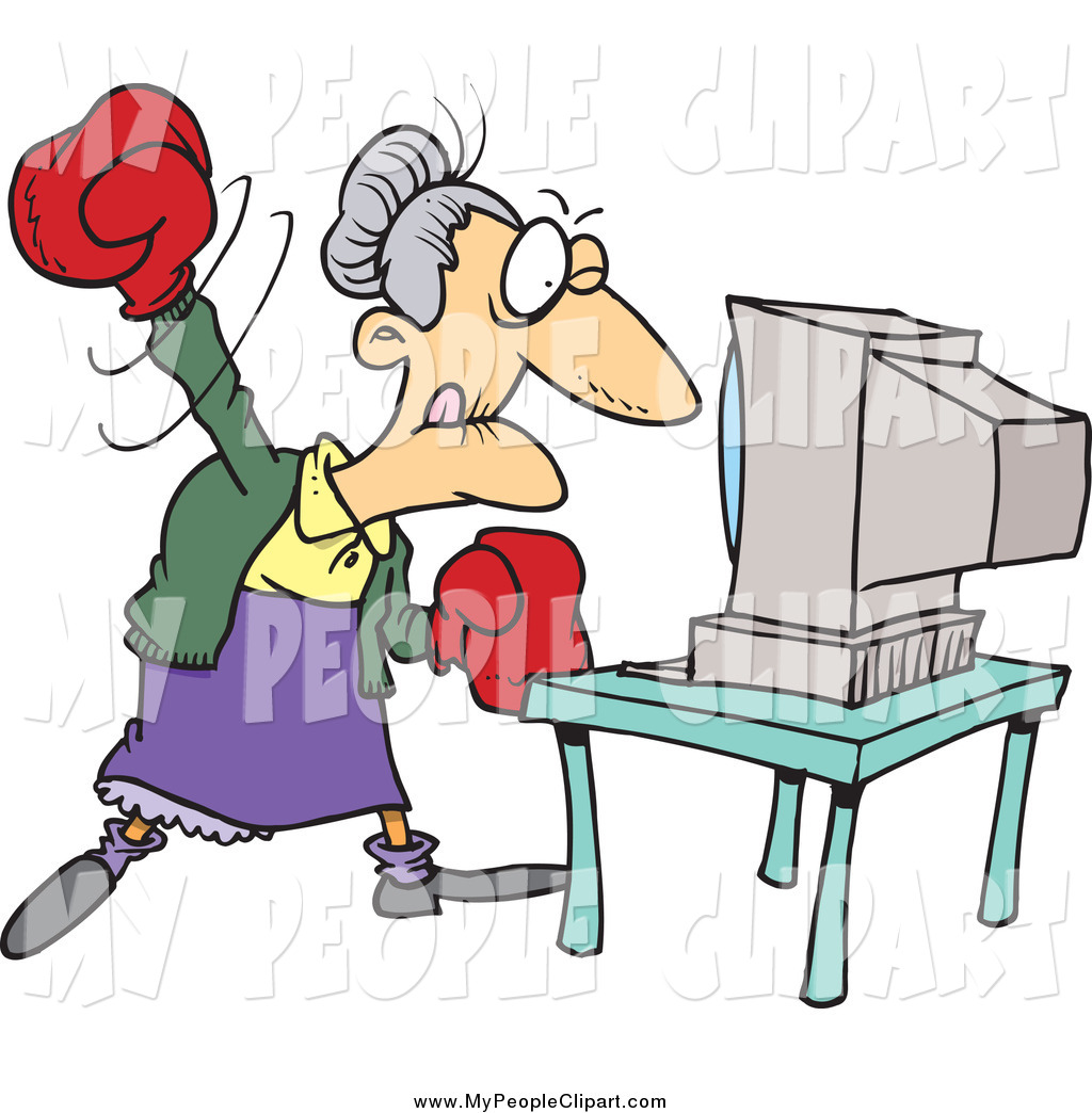 1024x1044 Clip Art Of A Cartoon Angry Granny Beating A Computer With Boxing