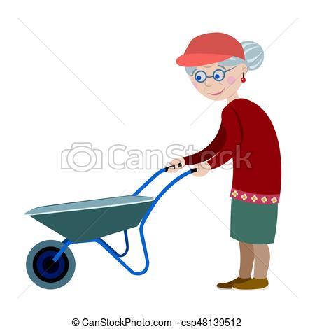 450x470 Grandmother Wheelbarrow. Cute Old Grandmother