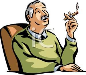 300x261 Grandpa Enjoying A Cigar