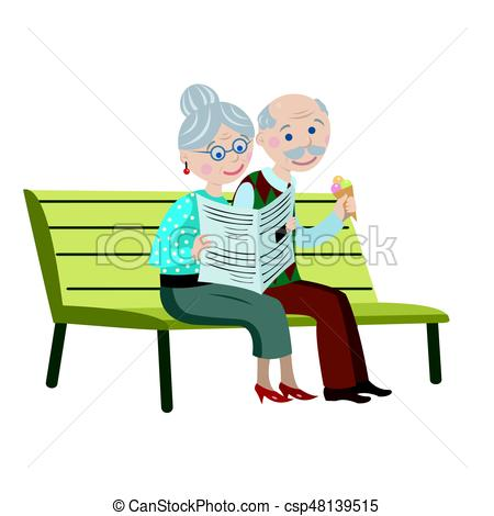 450x470 Grandparents On The Bench. Grandparents On A Bench With Ice