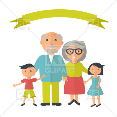 400x400 Senior Grandparents With Their Grandchilds Royalty Free Vector