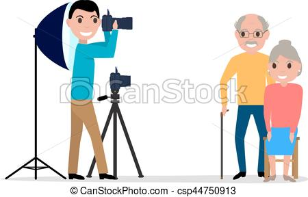 450x288 Vector Male Photographer Takes Photo Grandparents. Vector