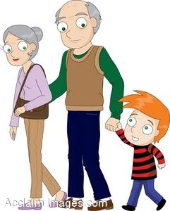 241x300 Clipart Illustration Of A Little Boy With His Grandparents