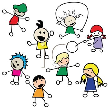350x350 Stick Figures Of Preschool Kids Playing