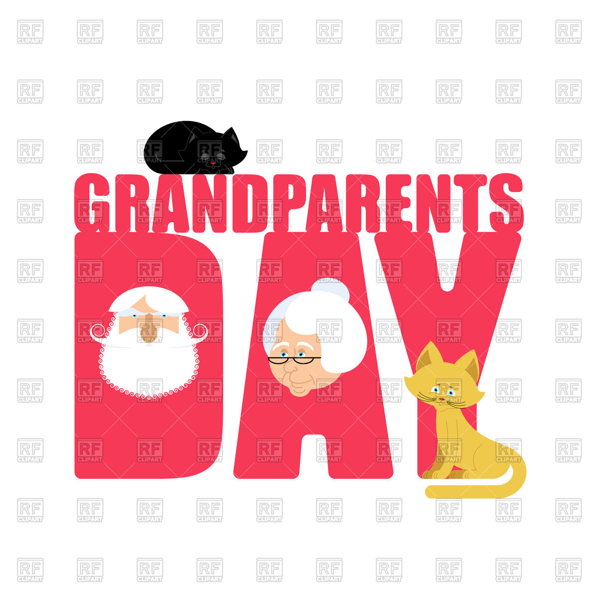1200x1200 Grandparents Day Poster With Grandmother And Grandfather Portrait