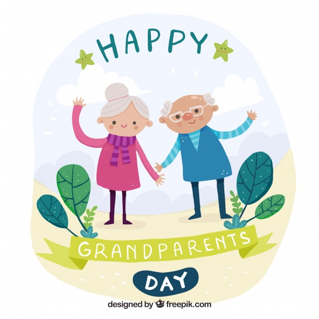 626x626 Nice Background Of Hand Drawn Grandparents Waving Vector Free