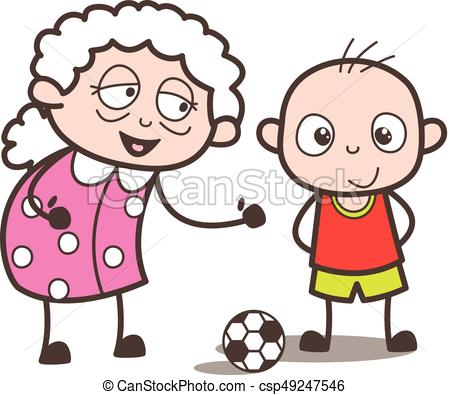 450x395 Cartoon Granny Playing Soccer With Grandson Vector Eps Vector
