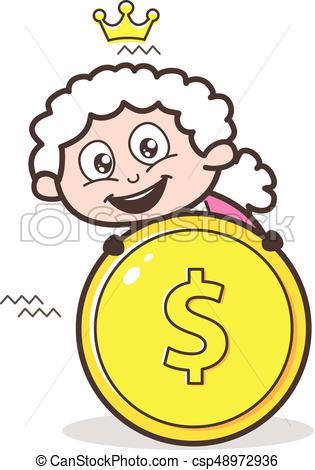315x470 Cartoon Granny With Dollar Coin Vector Illustration Vectors