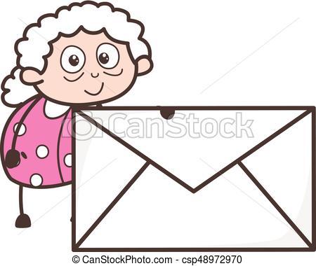450x380 Cartoon Granny With Envelope Vector Illustration Vectors