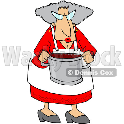 400x400 Clipart Of A Cool Granny Cooking And Holding A Pot Of Food
