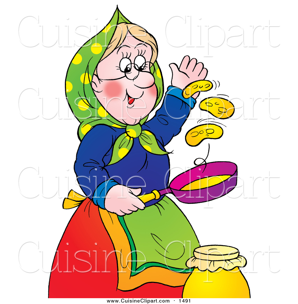 1024x1044 Cuisine Clipart Of A Happy Granny Flipping Pancakes By Alex