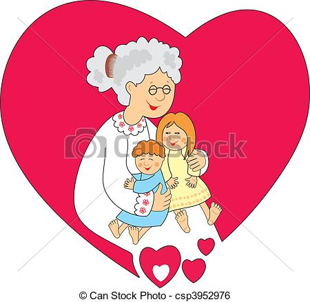 450x438 Granny With Grandsons. Happy Grandmother With Small Stock