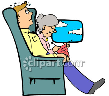 350x308 Scared Man On A Plane Next To A Calm Granny
