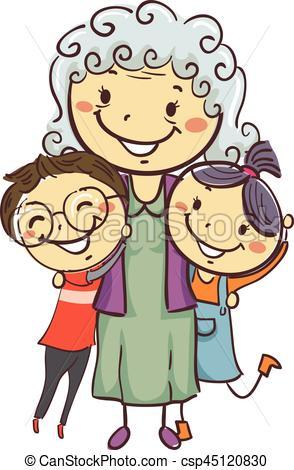 294x470 Vector Illustration Of Stick Kids With Grandma Vectors