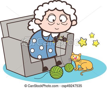 450x373 Cartoon Granny Making Woolen Item Vector Illustration Vectors