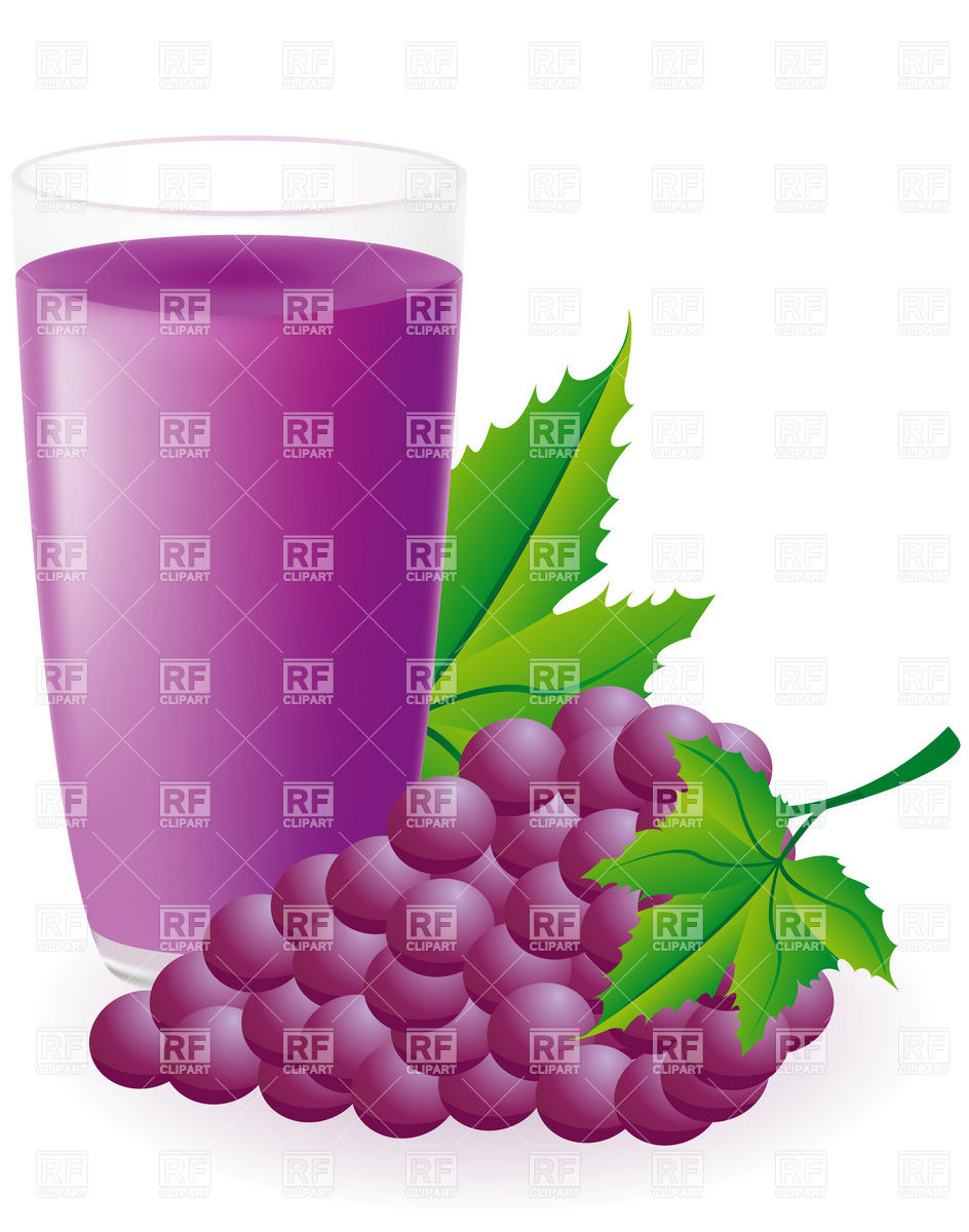 944x1200 Glass Of Juice Bunch Of Blue Grapes Royalty Free Vector Clip Art