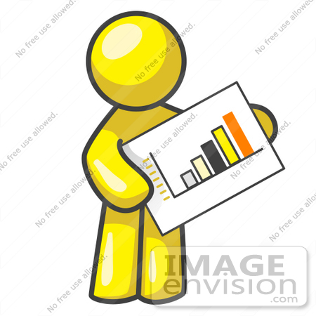 450x450 Clip Art Graphic Of A Yellow Guy Character Holding A Printed Bar
