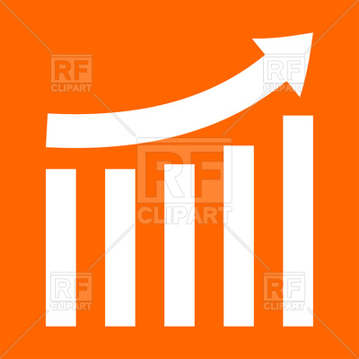 400x400 Growing Graph White Icon On Orange Background Royalty Free Vector