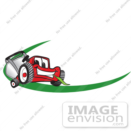 450x450 Clip Art Graphic Of A Red Lawn Mower Mascot Character Facing
