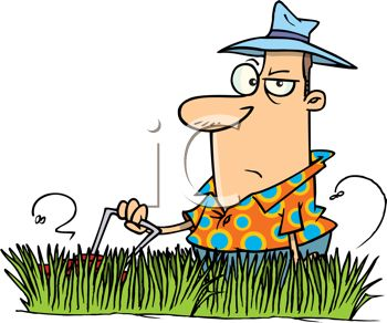 350x292 Royalty Free Clip Art Image Aggravated Dad Mowing The Grass