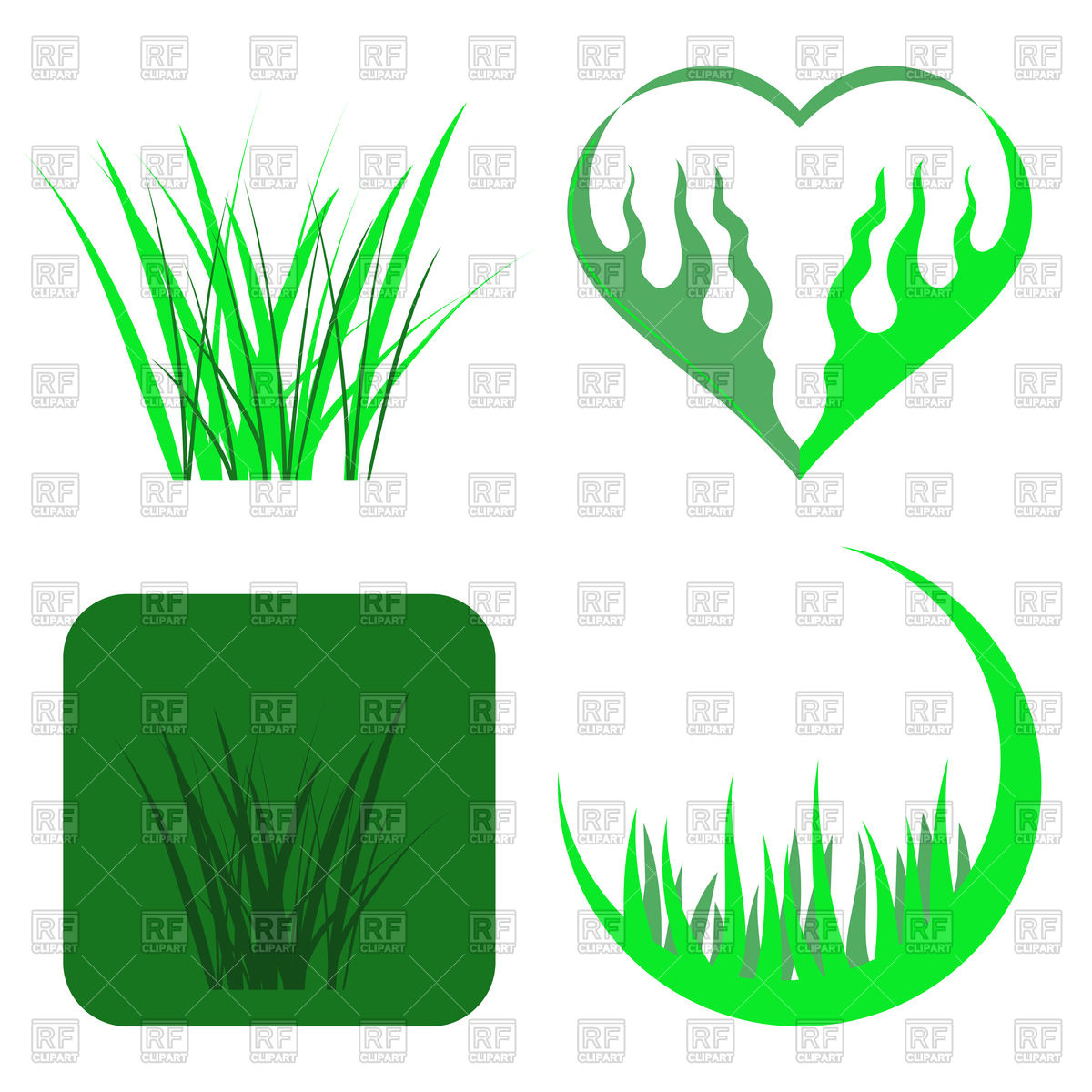 1200x1200 Set Of Green Grass Icons Royalty Free Vector Clip Art Image