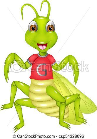 330x470 Vector Illustration Of Funny Grasshopper Cartoon Posing