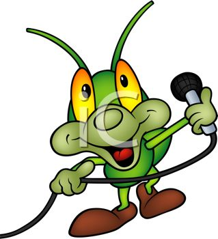 319x350 Cute Cartoon Grasshopper Performing With A Microphone