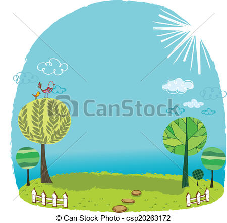 450x442 The View Of Grassland. The View Of Trees In The Grassland Vectors