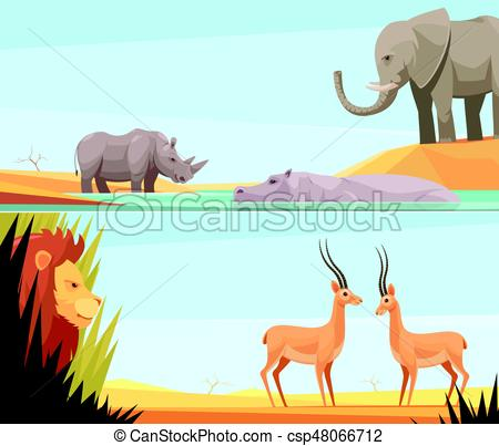 450x403 African Wild Banners Set. Two Horizontal Wild Animal Banners