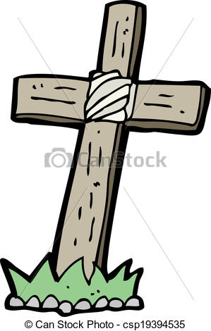 299x470 Cartoon Wooden Cross Grave Vectors