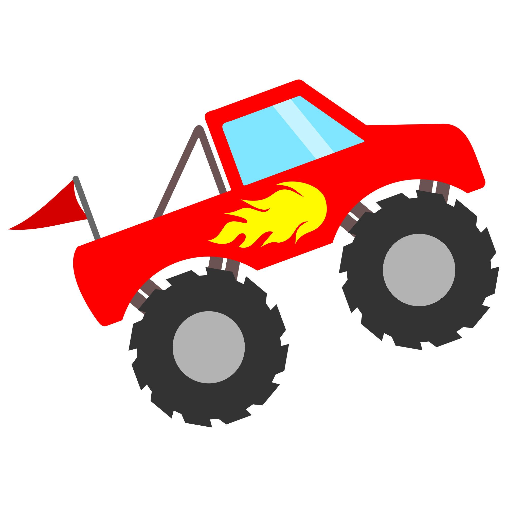 2000x2000 Monster Truck With Flames Svg File For Cricut And Silhouette